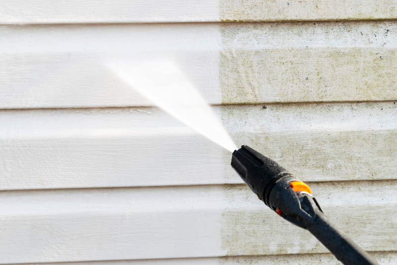 pressure washing of a house
